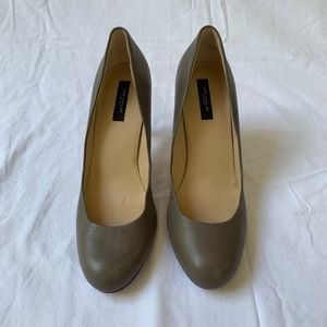 Ann Taylor Taupe Grey Leather Pumps